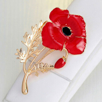 Elegant Red Rose Brooch Pin Flower Brooches  Banquet Dress Accessories N7