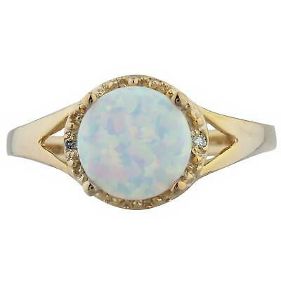 Opal & Diamond Halo Design Ring 14Kt Yellow Gold Rose Gold Silver