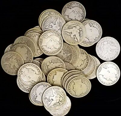 50 Barber Half Dollars 90% Silver Coins Mixed Date Lot Average Circulated AG-G