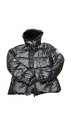 cb07609aa 100% AUTHENTIC MONCLER WOMENS black GLOSSY DOWN JACKET bomber puffer size 3
