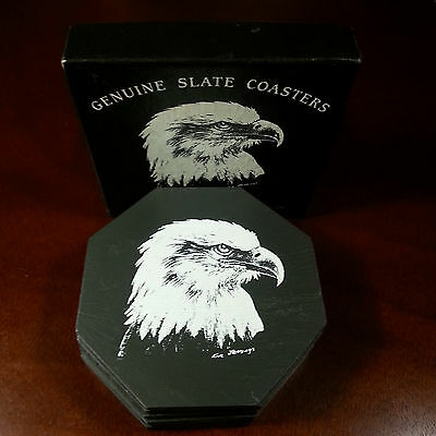 Genuine Pennsylvania Slate American Eagle Coasters Set 6