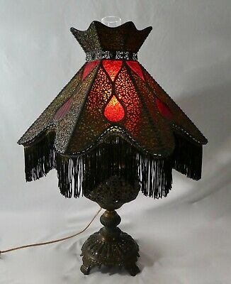 """Original Victorian Oil-To-Electric 8-Sided LAMP Fringed Shade.Stained Glass.30""""H"""