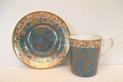 "Royal Albert Turquoise ""Floral Chintz"" Demitasse Cup and Saucer, England"