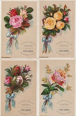 SUPER Set 4 LG Victorian Trade Cards - Roses Painters Wallpaper Grand Rapids MI