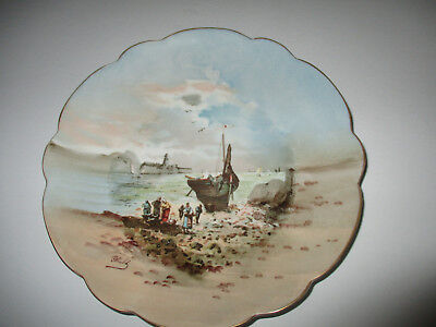 Limoges France Hand Painted Sea Side Scene Plate--Signed by the Artist