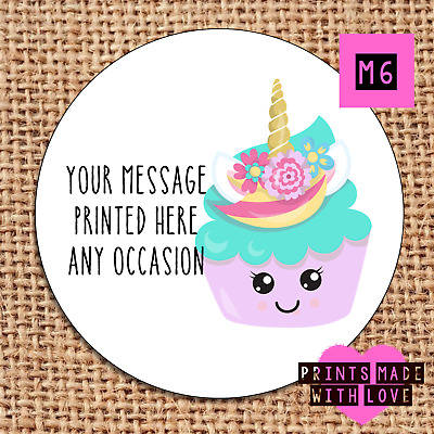 Unicorn Flower Personalised Stickers Cupcake Toppers Birthday Party Bag Cone U10