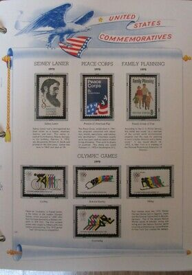 1972 Year Set of Stamps on White Ace Commemorative Complete Pages FREE SHIPPING