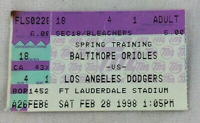 MLB 1998 02/28 Los Angeles Dodgers at Baltimore Orioles Spring Training Ticket