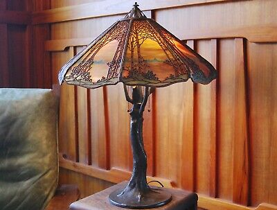 Handel Des tree with crocked tree branch table lamp, mission,arts and craft