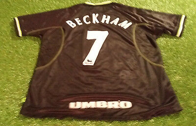 d46934358b7 manchester united football large mans vintage 1999 beckham no7 epl third  jersey