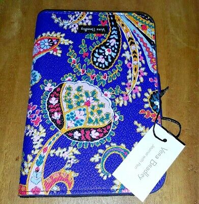 NWT Vera Bradley PEBBLED LEATHER ROMANTIC PAISLEY JOURNAL & PEN BLUE RED FLOWERS