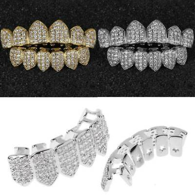 18K Plated Gold / Silver Top Bottom GRILLZ Mouth Bling Diamond Set Teeth Grill