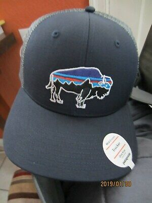 Patagonia Fitz Roy Bison Blue Buffalo Snap Back Trucker Hat One Size NWT 7f81438f901b