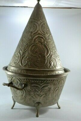 Antique original Silver arabic lided bowl handcarved art traditional signed bowl