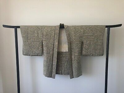 Green Silk Haori Jacket Kimono Vintage Japanese One of a Kind Cardigan