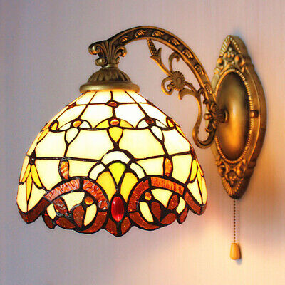 Tiffany Style Wall Light Fixture Indoor Sconce Stained Glass Lamp With Switch