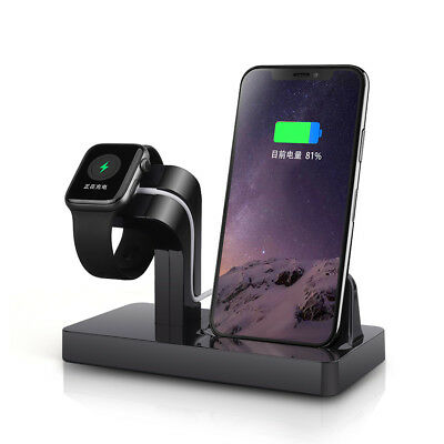 2in1 Charger Dock Stand Bracket For Apple iWatch 1/2/3/4 iPhone 8 X 8Plus XR XS
