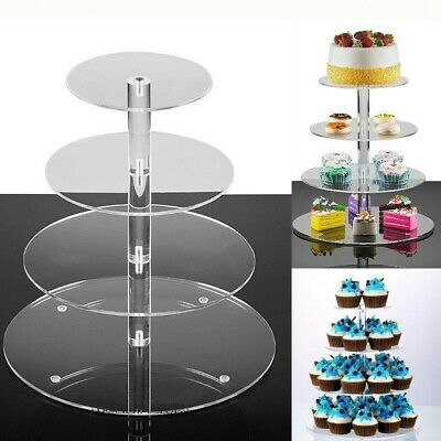 4Tier Acrylic CupCake Stand Display Cake Toppers Tower Shelf Wedding Party Clear