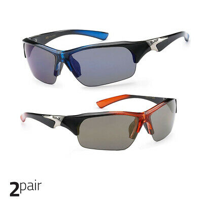 8e4c94973b X Loop Sport Half Frame Sunglasses For Men And Women Wrap Around Blue+Orange