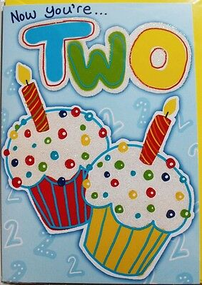 Now you're two Birthday card & envelope, boy or girl, cake themed, brand new
