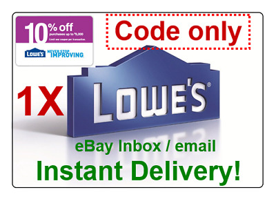LOWES 10% Off PROMOTION DISCOUNT.1Coupon Online Code Only (fast delivery)