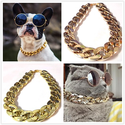Pet Choke Chain Gold-plated Collar Necklace For Small Dog French Bulldog Cool