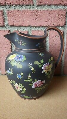 Large Wedgwood Basalt Enameled Chinese Flowers Club Pitcher Jug Early 19Th Cent