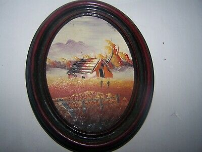 Antique Small Oval Framed Hand Painted Oil Painting Of Rural Farm Scene