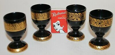 Black Gold Egg Cups Gilded Gilt Lacquer Ware Set Four 4 Vintage Made in Japan