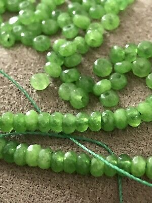 NATURAL GREEN PERIDOT FACETED GEMSTONE BEADS - 100 BEADS IN ONE LOT  4x2mm