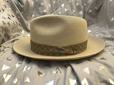 17086e98a70 Vintage Dobbs Straw Fedora Hat 7 3 8 Men s Classic Style Excellent Clean Nr
