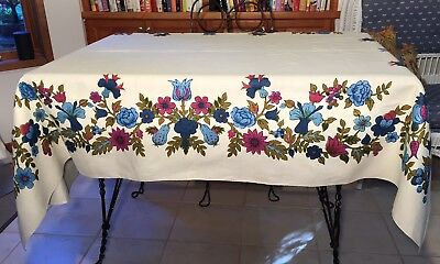 "Vtg 60's Cream Linen Tablecloth Floral Blue Purple Magenta Olive Green 52""x70"""