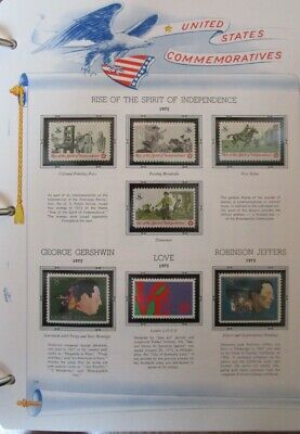 1973 Year Set of Stamps Mounted on White Ace Commemorative Pages FREE SHIPPING