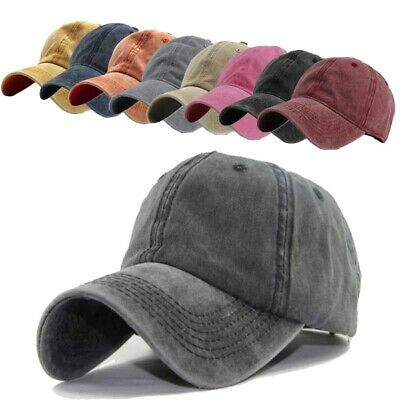 Plain Washed Baseball Caps Blank Solid Hat Polo Style Cotton Curved Sun Cap