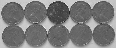 10 x 1974 5c Average circulated 5 cent(LotE1018p)Free Registered Postage