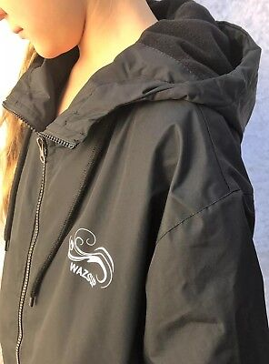 Swim Parka Wazsup Black with Black Size XS  (deck coat, swim jacket, beach robe)