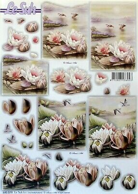 Die Cut 3D A4 PAPER TOLE DECOUPAGE Water Lillies Birds Flowers Lake 680.079
