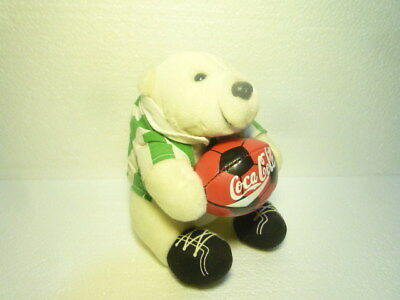 Great Coca Cola Mini Bear Plush 1998 Soccer Rare Special 0ee0a32a635e