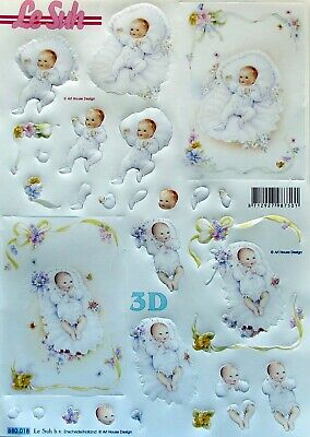 Die Cut 3D A4 PAPER TOLE DECOUPAGE Baby Boy Girl Birth Christening 680.018