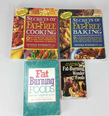 Lot of 4 Fat Free Fat Burning Nutritional Cook Books - Cooking Baking Paperback