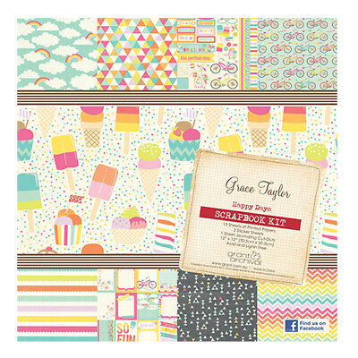 GRACE TAYLOR 12x12 Scrapbooking Kit: SUMMER RAINBOW Papers + Journaling Stickers