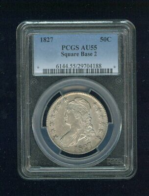 1827-P Square Base 2 Square Base Two Capped Bust Silver Half PCGS AU 55 O-130 R3