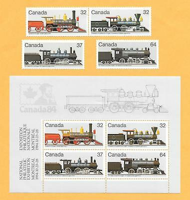 "1984 Canada { Trains - Steam Locomotives } "" Set Of 4 + M/s "" Mint Un Hinged"