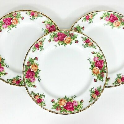 """3 Vintage Royal Albert Old Country Roses Salad Plates 1962 England 8"""""""