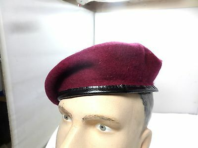 6c53e1b2060a9 BRITISH ARMY MAROON Officers Silk Lined Small Crown Beret Para ...