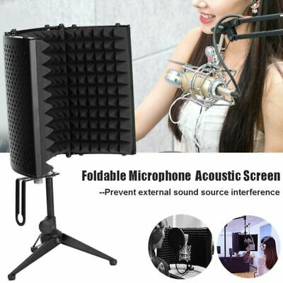 Foldable Microphone Isolation Shield Acoustic Foam Absorber Screen Vocal Booth