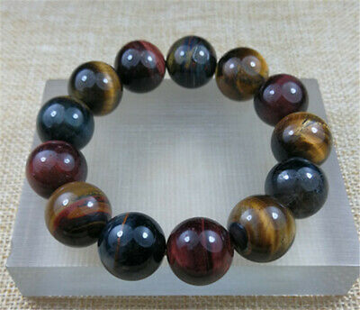 16MM Natural 5A RED Tiger Eye Round Stone Beads with Stretchy JADE Bracelet