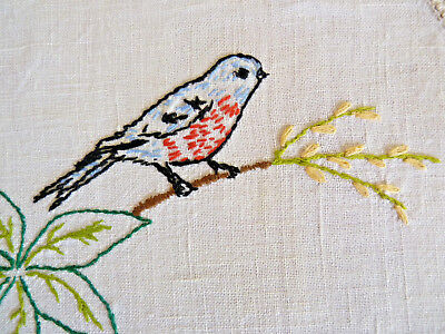 ROBIN RED BREAST Large Doily Table Centre  Vintage Hand Embroidered