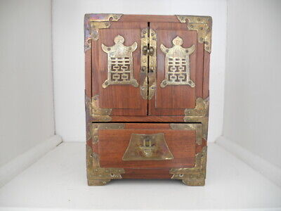 Antique Chinese Miniature Padauk wood Cabinet with brass mounts