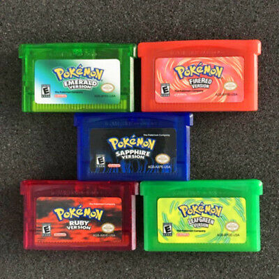 Pokemon Game Cartridge FireRed /LeafGreen /Ruby  /Emerald /Sapphire for GBA